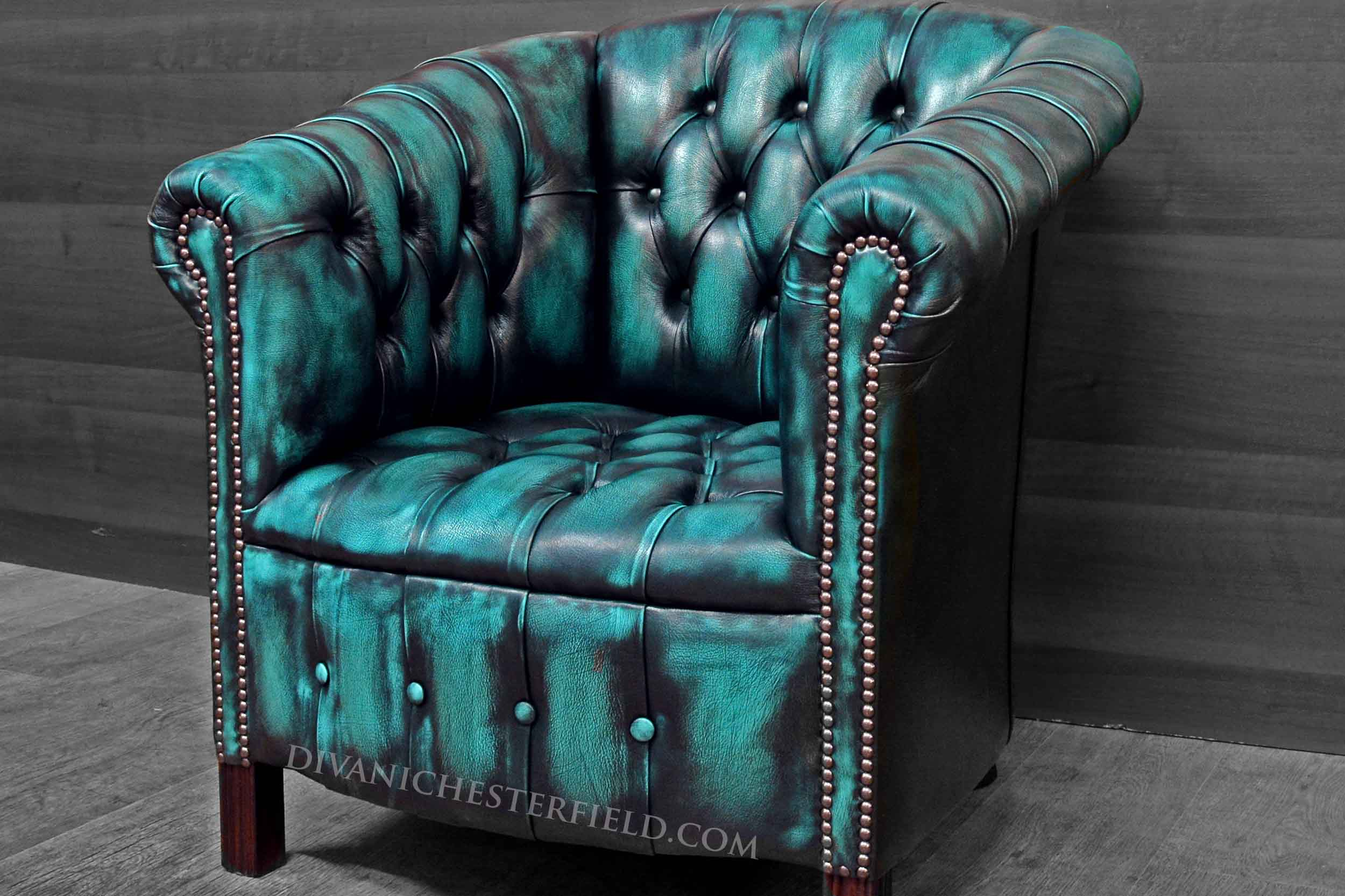 Modern Chesterfield Chair New Leathers Yellow Turquoise
