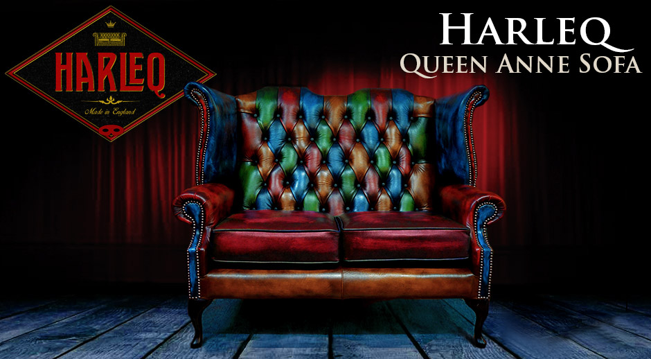 Chesterfield Patchwork Queen Anne Chair Harlequin Patchwork Leather