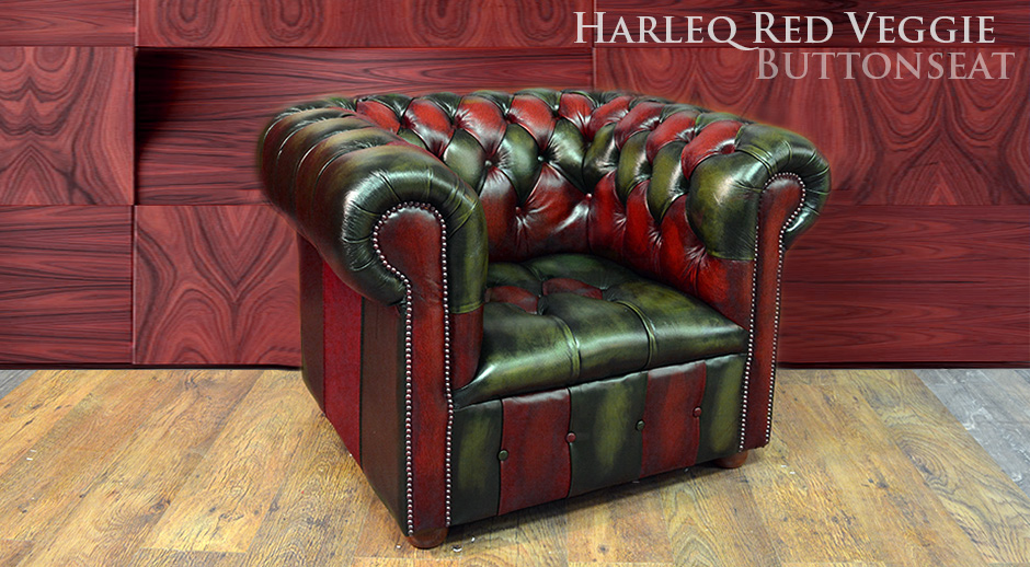 Chesterfield Red Green Leathers Patchwork Multicolour