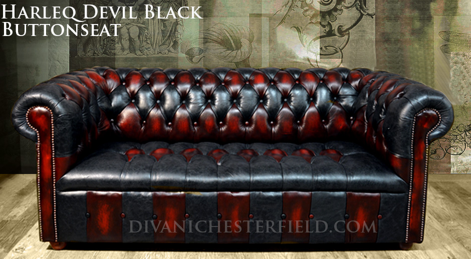 PatchWork Chesterfield Sofa Harlequin Leather Club Chair Devil Black