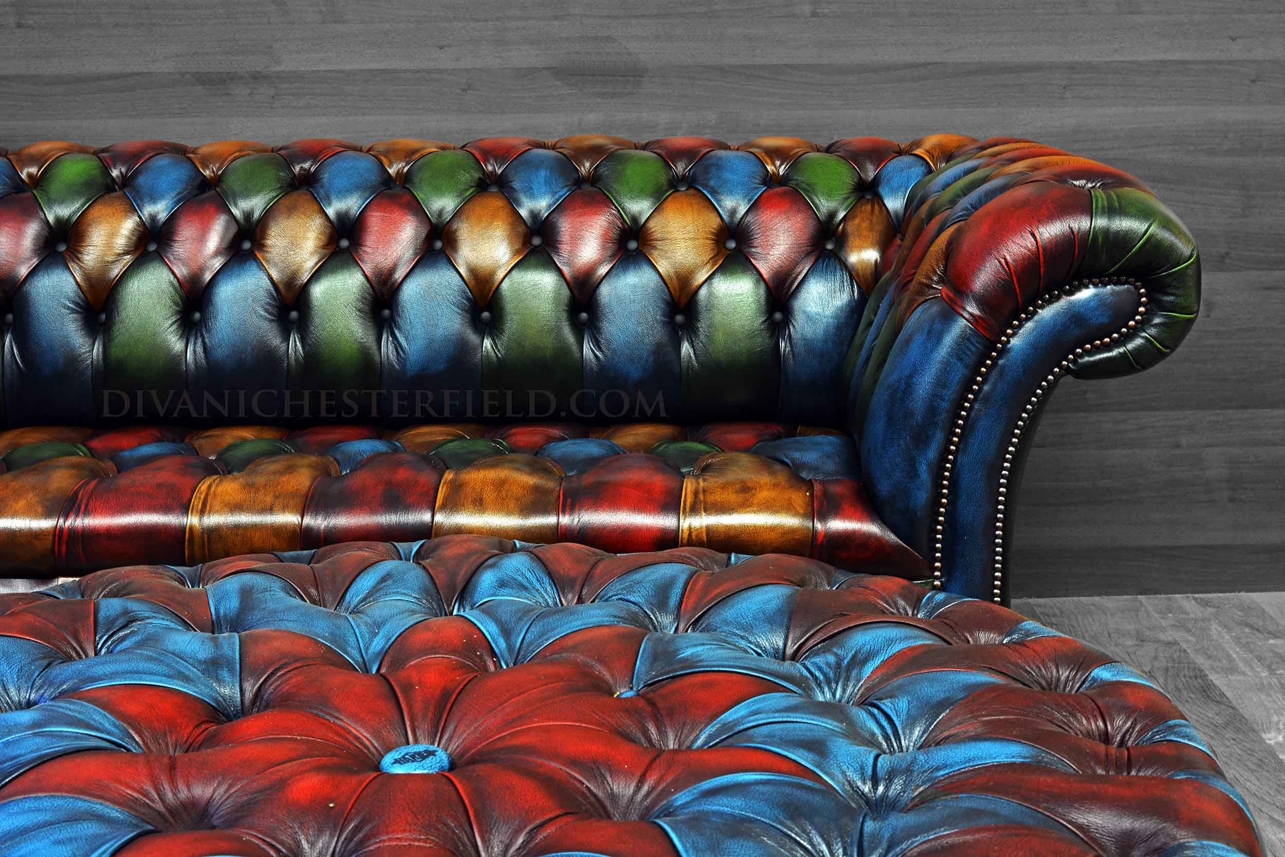 Patchwork Chesterfield Sofa Harlequin Leather Buckingham Button Seat