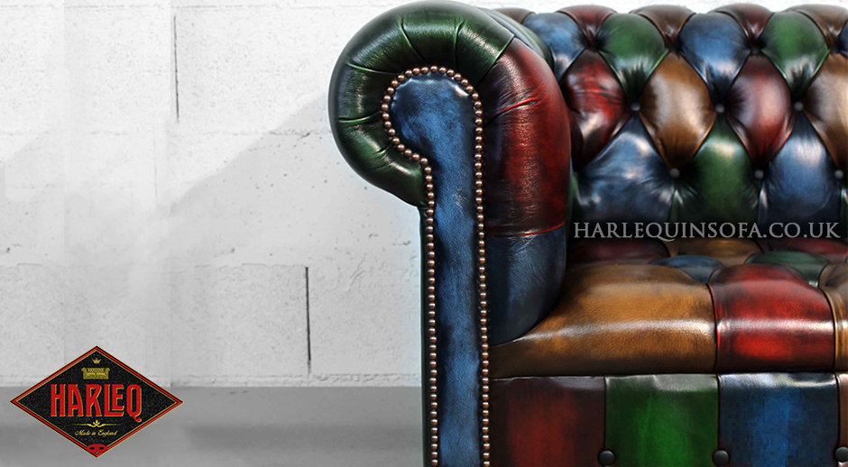 Patchwork Chesterfield Sofa Harlequin Leather Button Seat