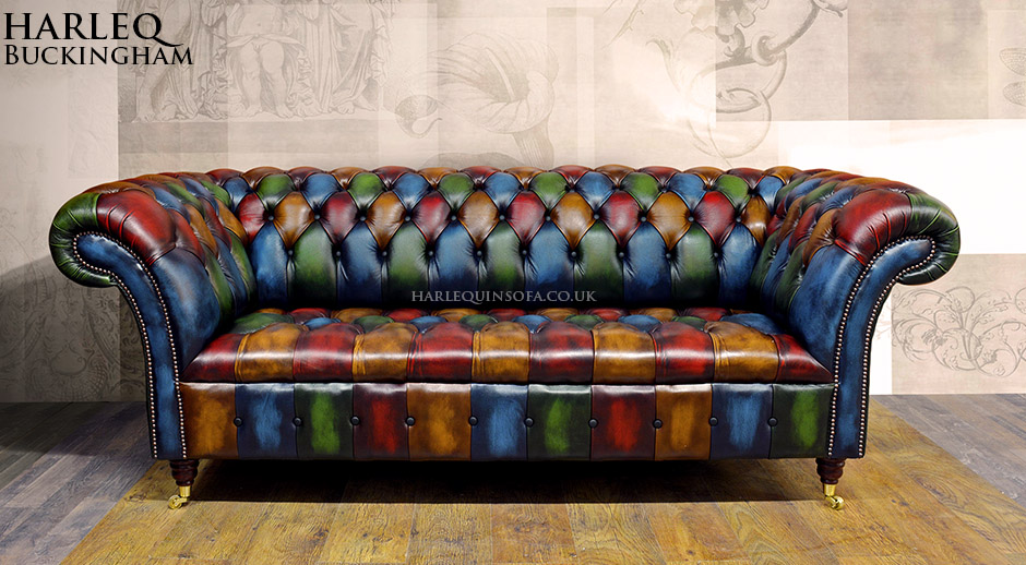 Patchwork Chesterfield Sofa Harlequin Leather Buckingham