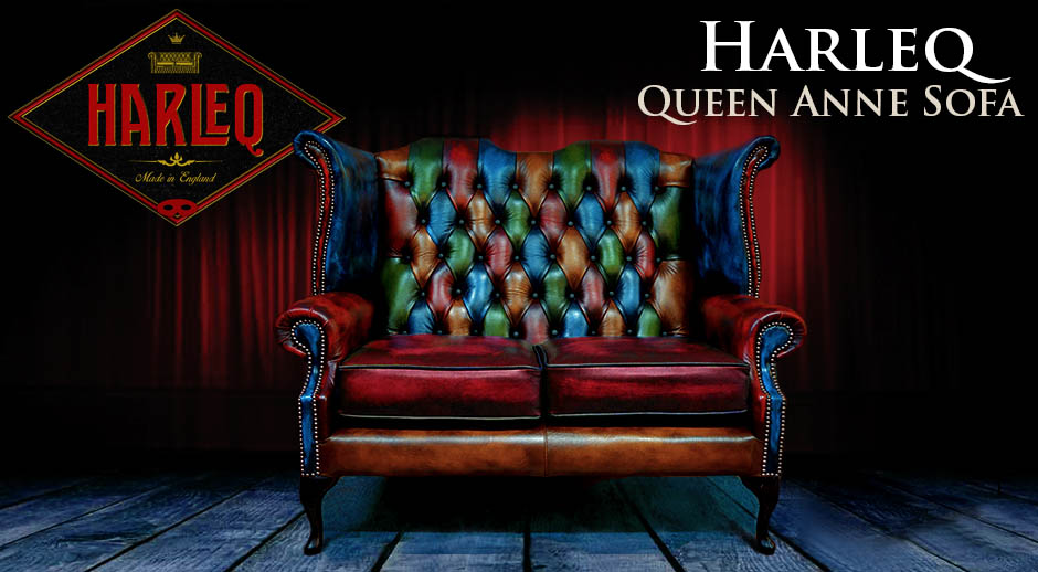 queen anne chesterfield sofa vintage patchwork red blue