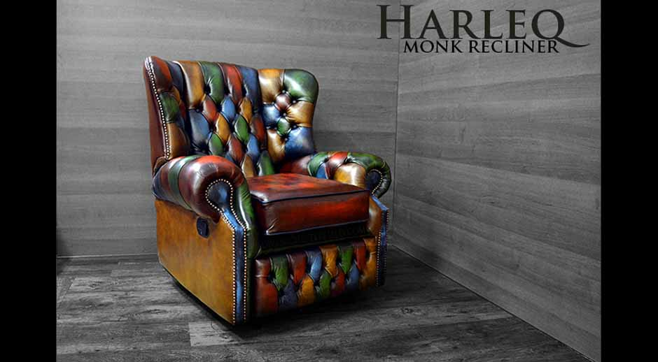 multicoloured patchwork harlequin chair recliner