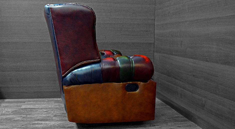 Multi Colour Chesterfield Patchwork Monk Recliner Chair