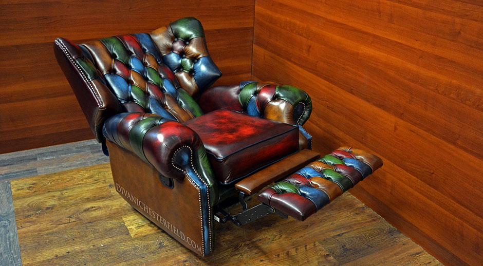 Merveilleux Monk Chesterfield Recliner Patchwork Leather; Monk Chesterfield Recliner  Vintage Patchwork; Monk Chesterfield Recliner Chair