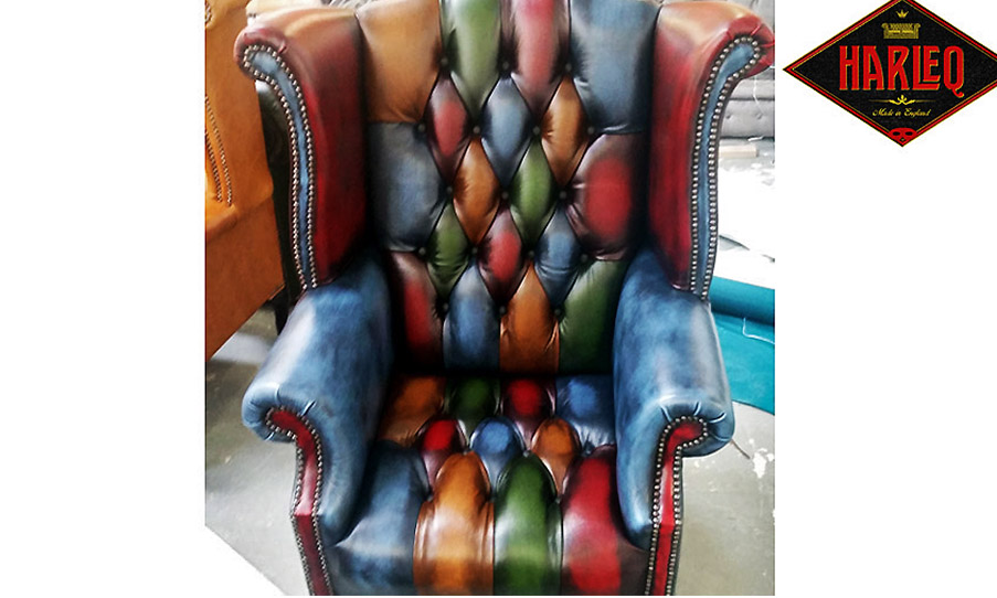 queen anne chair multicoloured patchwork harlequin