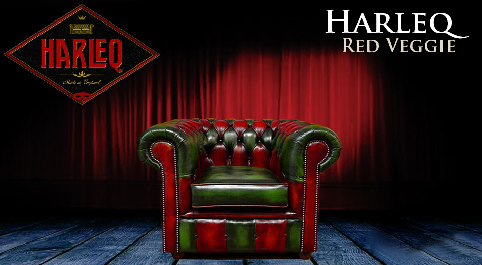 Chesterfield chair harleq patchwork red green