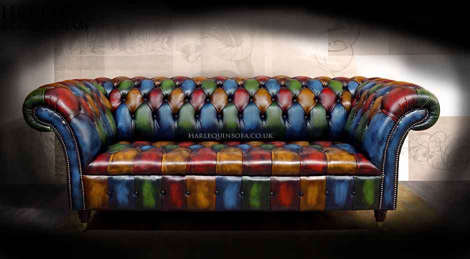 Patchwork Chesterfield sofa button seat